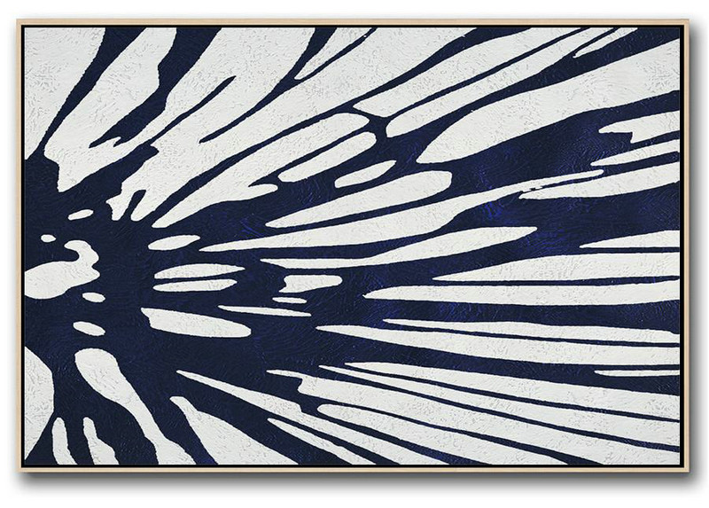Horizontal Abstract Painting Navy Blue Minimalist Painting On Canvas,Abstract Artwork Online #Z8L0