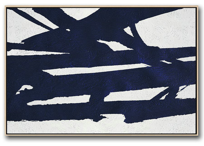 Horizontal Abstract Painting Navy Blue Minimalist Painting On Canvas,Abstract Paintings On Sale #S7V4