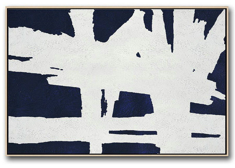 Horizontal Abstract Painting Navy Blue Minimalist Painting On Canvas,Contemporary Art Wall Decor #D1E6