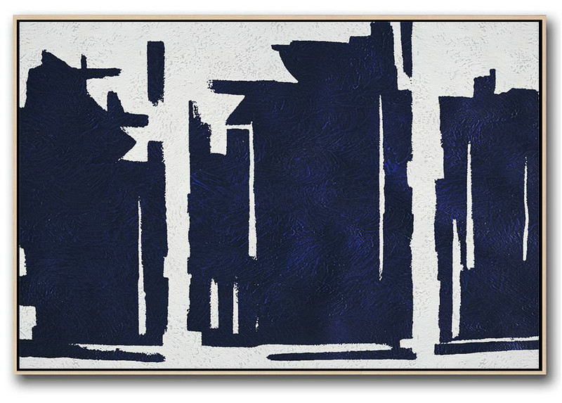Horizontal Abstract Painting Navy Blue Minimalist Painting On Canvas,Huge Abstract Canvas Art #U1M9