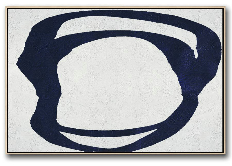Horizontal Abstract Painting Navy Blue Minimalist Painting On Canvas,Acrylic Painting Canvas Art #B8P7