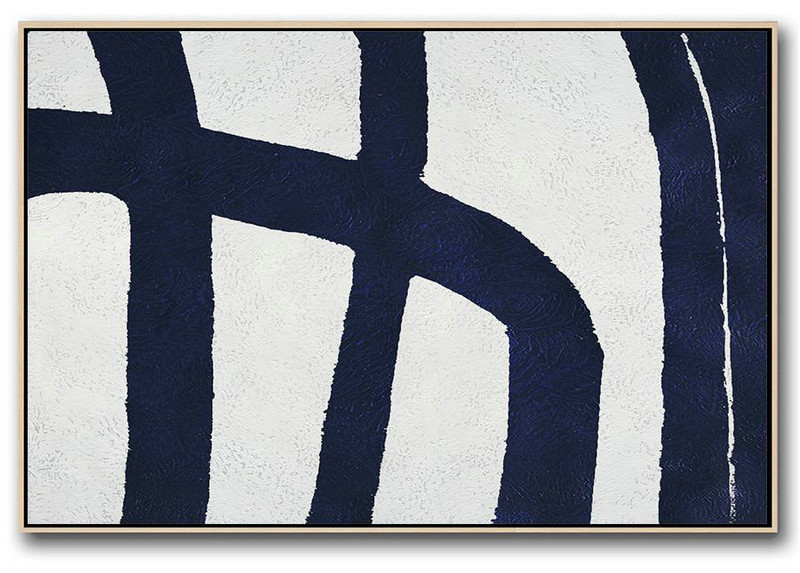 Horizontal Navy Painting Abstract Minimalist Art On Canvas,Abstract Painting Modern Art #Q6C1