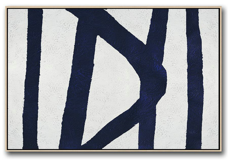 Horizontal Navy Painting Abstract Minimalist Art On Canvas,Large Canvas Art #U6B2