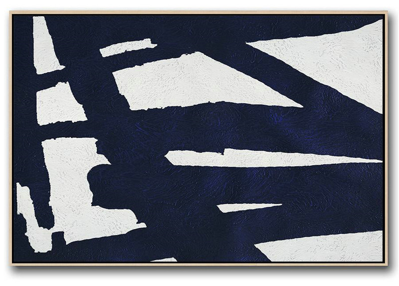 Horizontal Navy Painting Abstract Minimalist Art On Canvas,Family Wall Decor #T9W9
