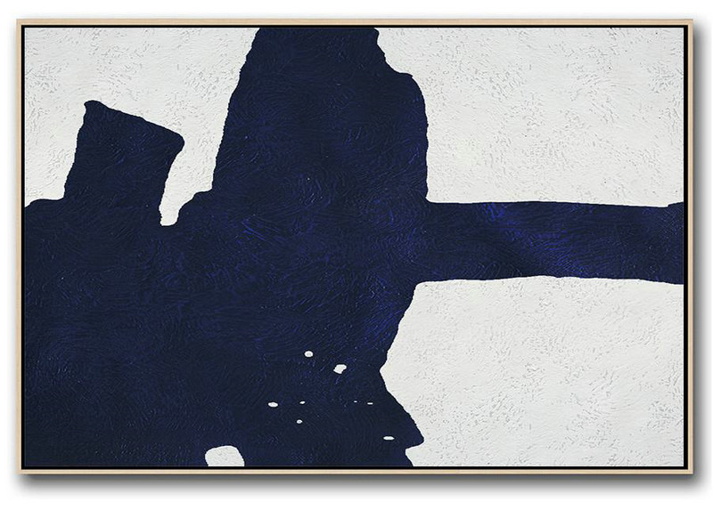 Horizontal Navy Painting Abstract Minimalist Art On Canvas,Original Art Acrylic Painting #P7V4