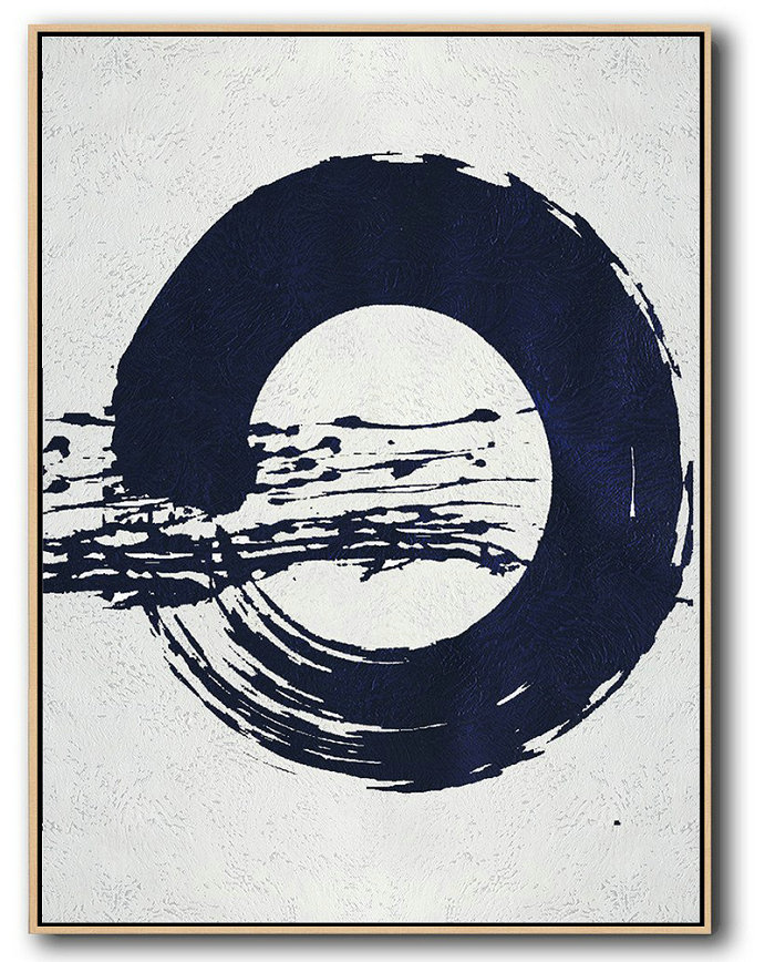 Buy Hand Painted Navy Blue Abstract Painting Online,Acrylic Minimailist Painting #H6L3
