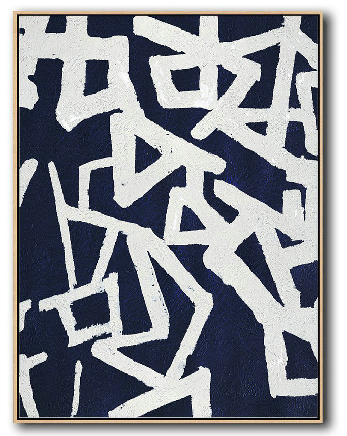 Buy Hand Painted Navy Blue Abstract Painting Online,Hand Painted Abstract Art #C2S8