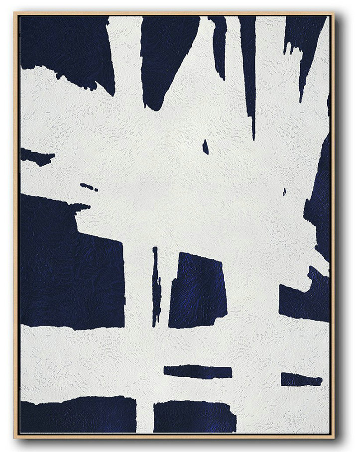 Buy Hand Painted Navy Blue Abstract Painting Online,Hand-Painted Canvas Art #N9I6