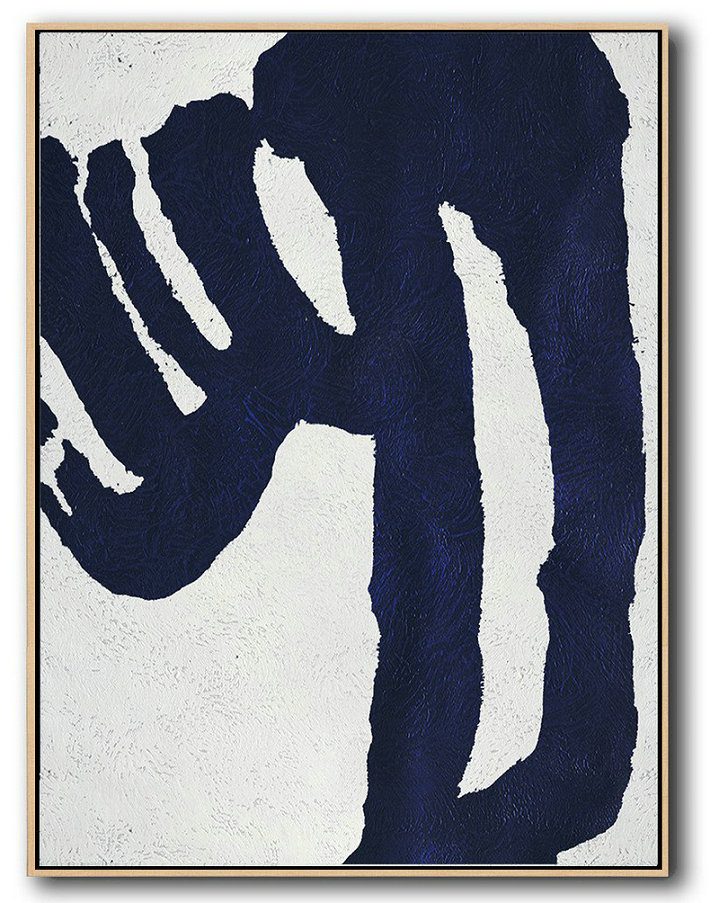 Buy Hand Painted Navy Blue Abstract Painting Online,Original Abstract Painting Canvas Art #Z1S9