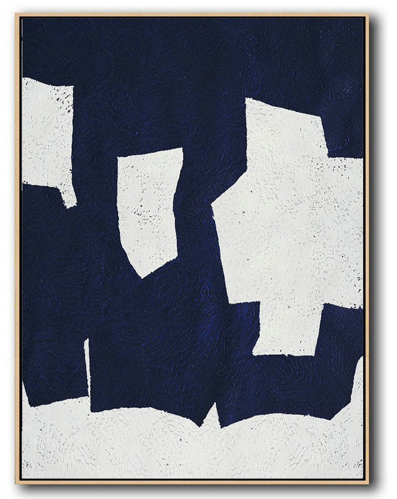 Buy Hand Painted Navy Blue Abstract Painting Online,Large Abstract Art Handmade Acrylic Painting #Y2N1