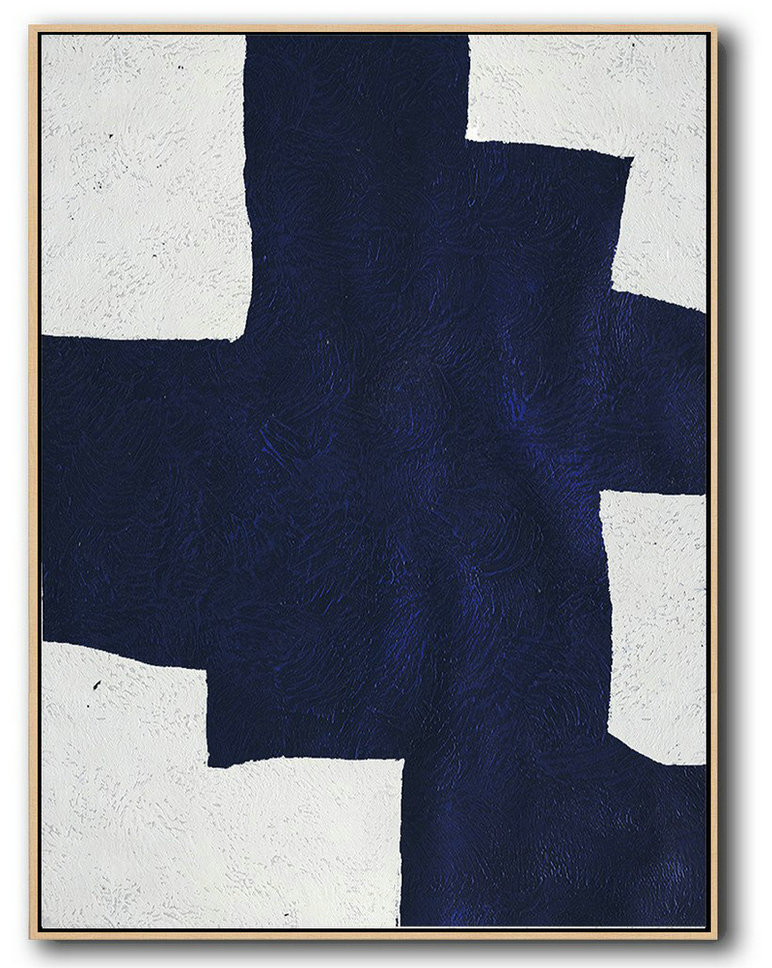 Buy Hand Painted Navy Blue Abstract Painting Online,Contemporary Art Canvas Painting #Z8Q4