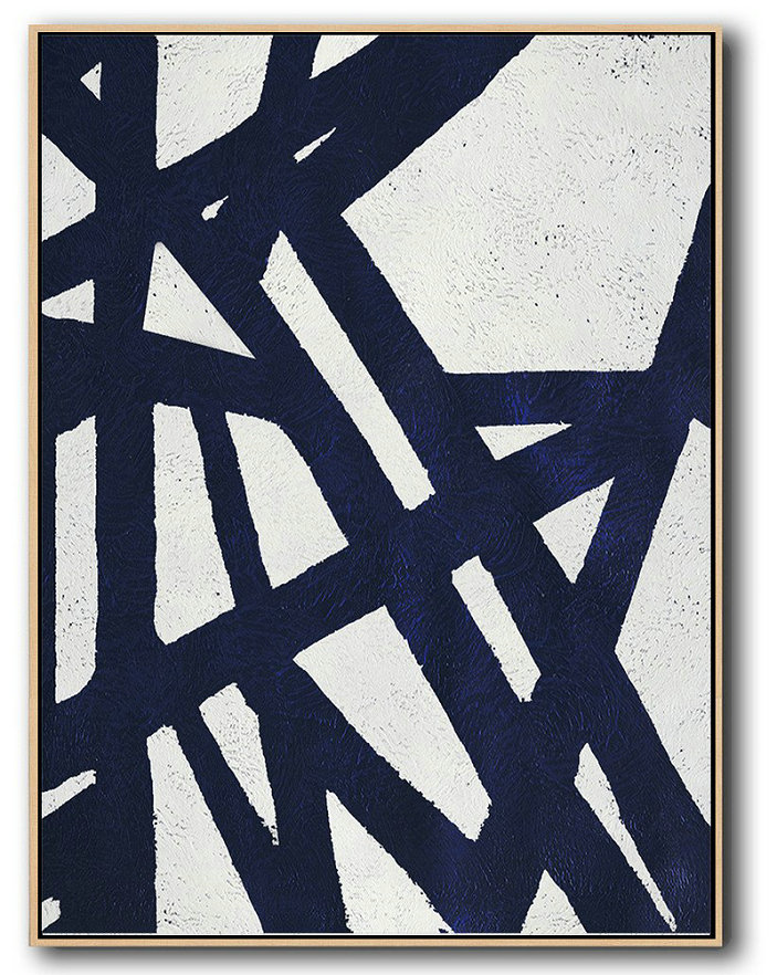 Buy Hand Painted Navy Blue Abstract Painting Online,Extra Large Artwork #U9K6
