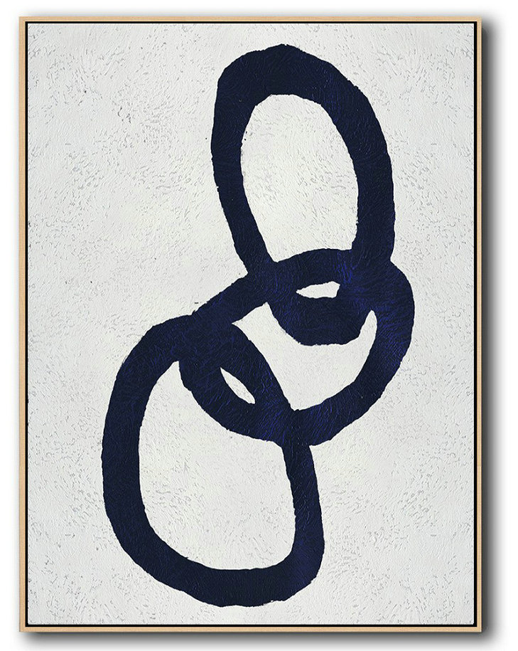 Buy Hand Painted Navy Blue Abstract Painting Online,Canvas Wall Art Home Decor #O5J6