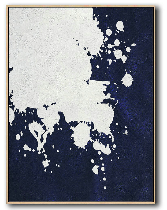 Buy Hand Painted Navy Blue Abstract Painting Online,Large Contemporary Painting #K3Z9