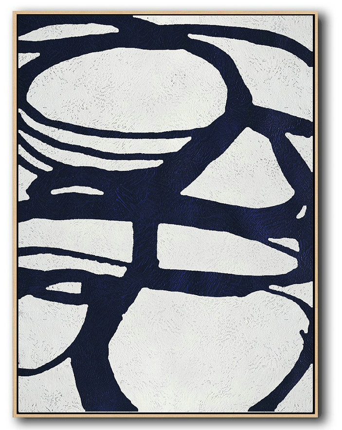 Buy Hand Painted Navy Blue Abstract Painting Online,Big Painting #P7V7