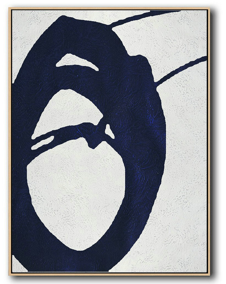 Buy Hand Painted Navy Blue Abstract Painting Online,Extra Large Canvas Art #D7J5