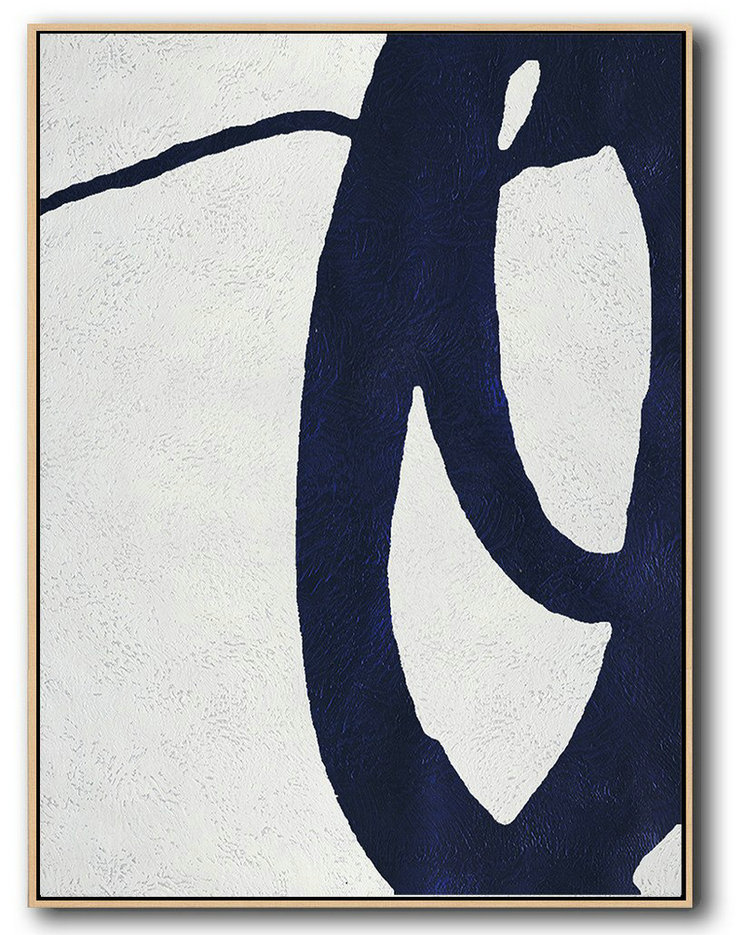 Buy Hand Painted Navy Blue Abstract Painting Online,Acrylic Painting Canvas Art #Y4M6