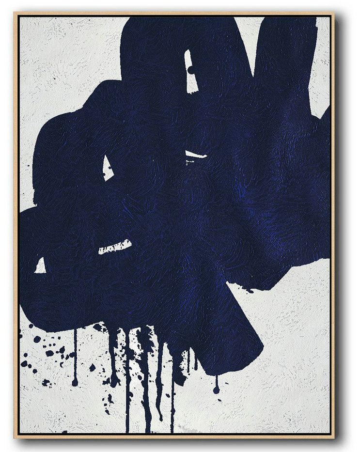 Buy Hand Painted Navy Blue Abstract Painting Online,Abstract Painting On Canvas #K2M6