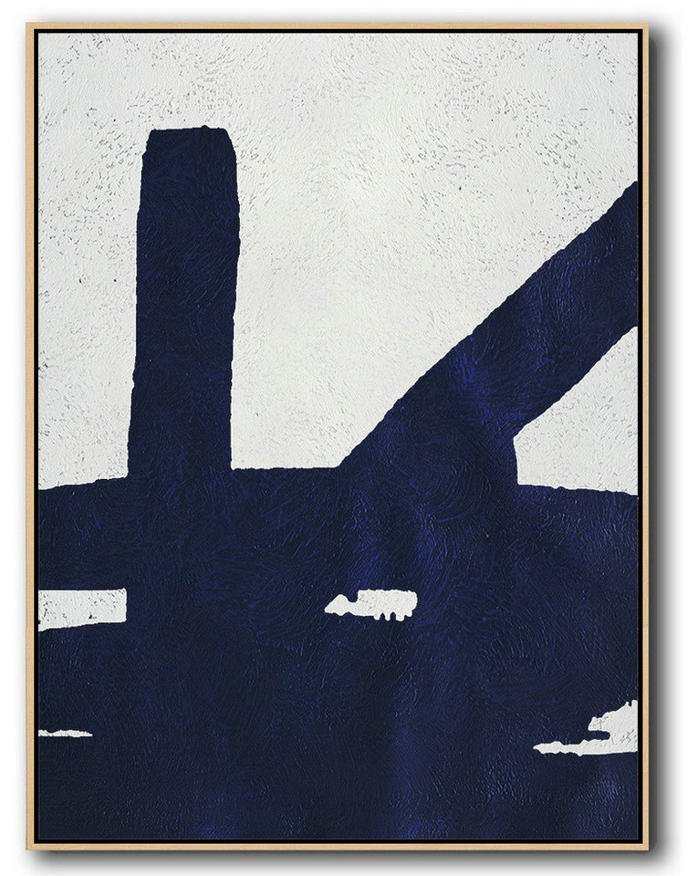 Buy Hand Painted Navy Blue Abstract Painting Online,Large Canvas Art #V9O9