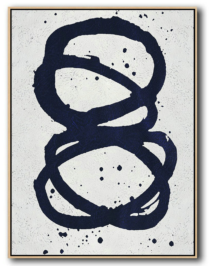 Buy Hand Painted Navy Blue Abstract Painting Online,Hand Painted Acrylic Painting #L8W0