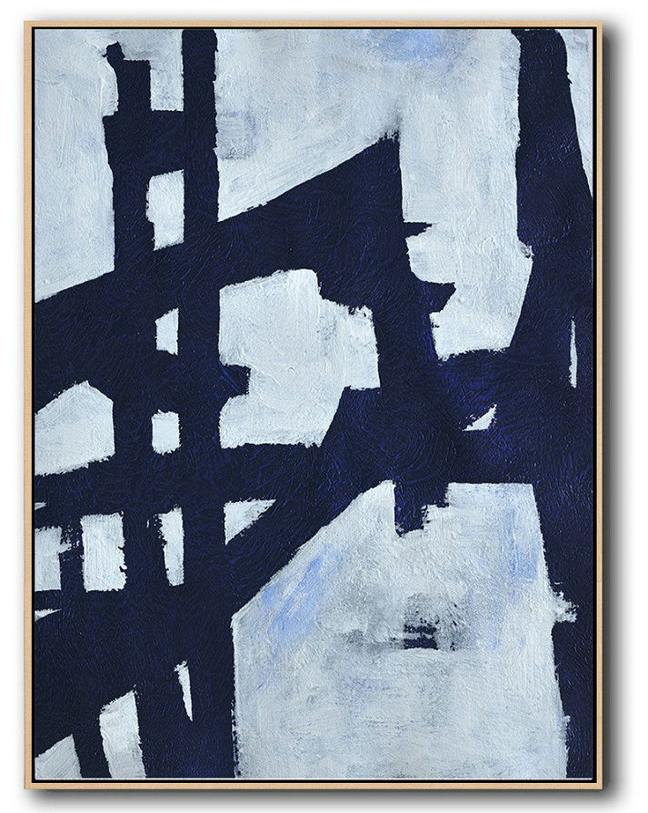 Buy Hand Painted Navy Blue Abstract Painting Online,Unique Canvas Art #O6E4