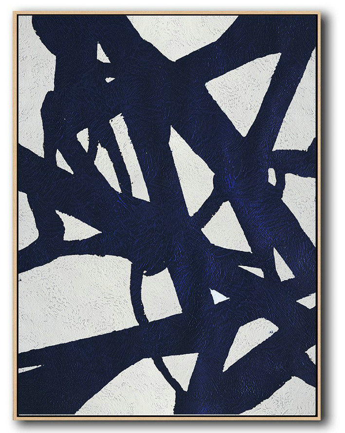 Buy Hand Painted Navy Blue Abstract Painting Online,Giant Canvas Wall Art #Y8J3