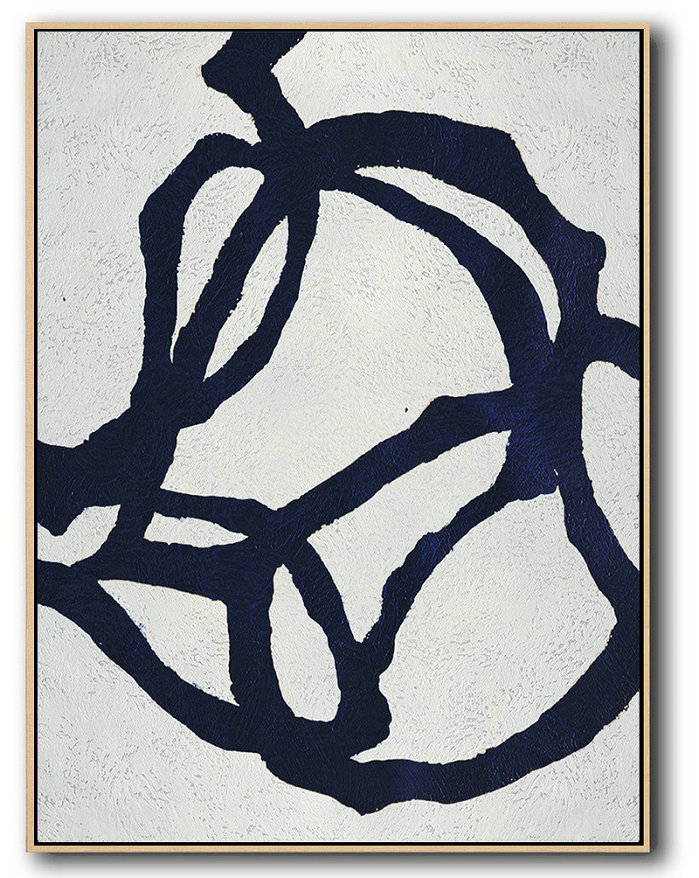 Buy Hand Painted Navy Blue Abstract Painting Online,Living Room Canvas Art #B3R0