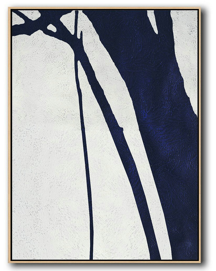 Buy Hand Painted Navy Blue Abstract Painting Online,Hand Paint Large Clean Modern Art #C8V8