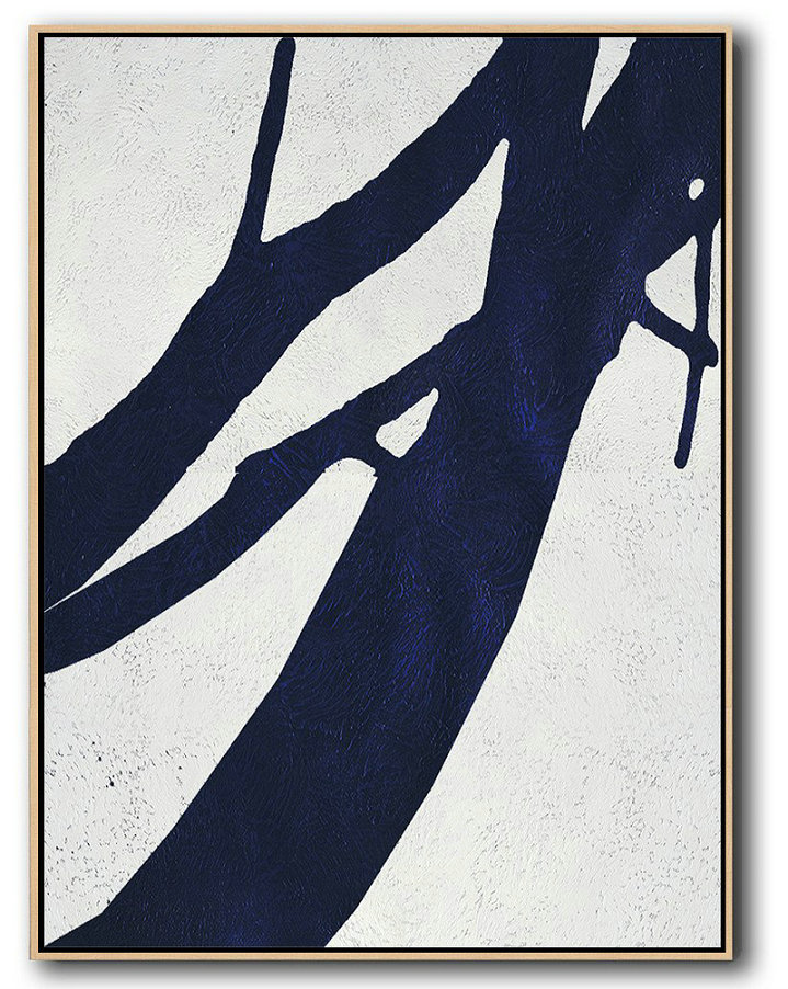 Buy Hand Painted Navy Blue Abstract Painting Online,Acrylic Painting Canvas Art #F2R2