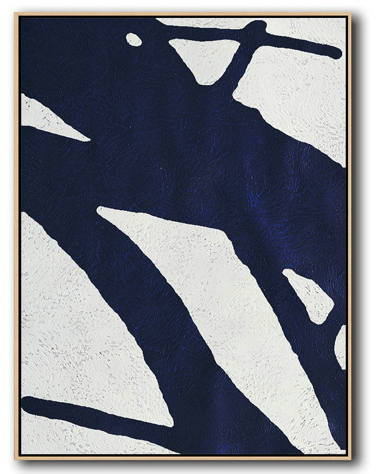 Buy Hand Painted Navy Blue Abstract Painting Online,Artwork For Sale #P2S5