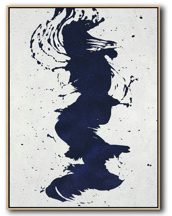 Buy Hand Painted Navy Blue Abstract Painting Online,Abstract Oil Painting #G7B5