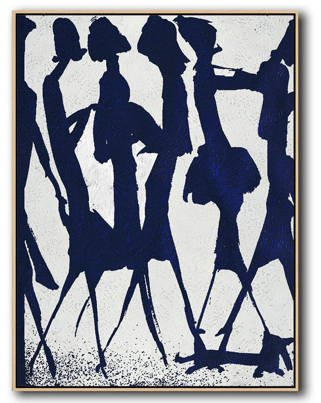 Buy Hand Painted Navy Blue Abstract Painting Online,Huge Wall Decor #O5J9
