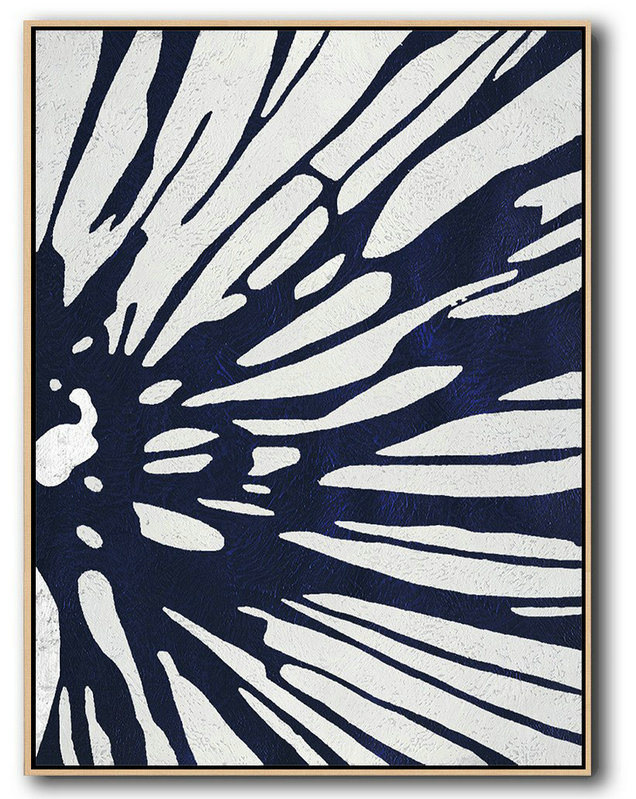 Buy Hand Painted Navy Blue Abstract Painting Online,Hand Painted Acrylic Painting #T3C8