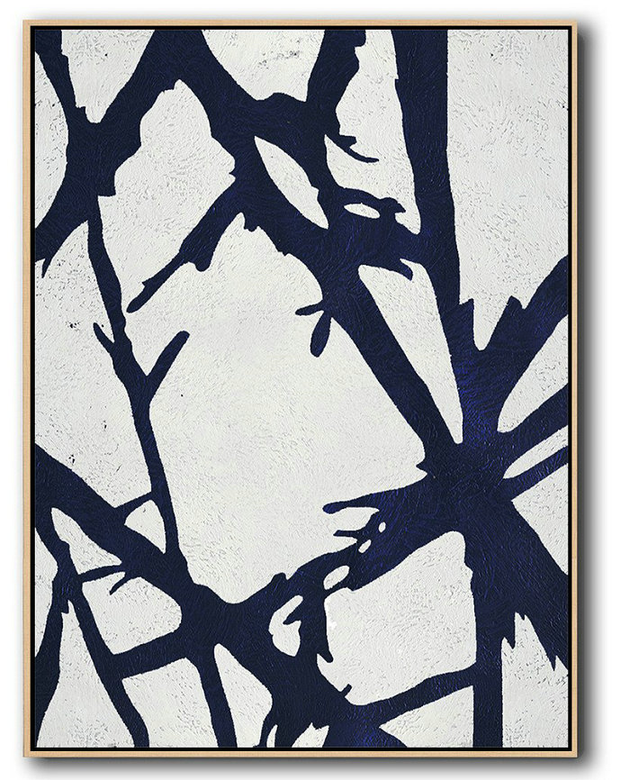 Buy Hand Painted Navy Blue Abstract Painting Online,Modern Art Abstract Painting #N3G6