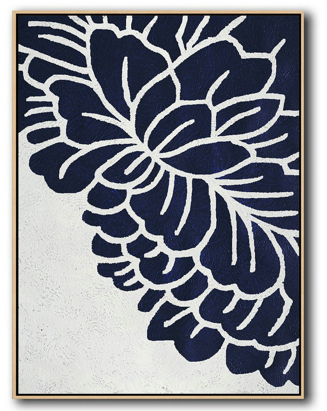 Buy Hand Painted Navy Blue Abstract Painting Online,Hand Paint Abstract Painting #F2G8