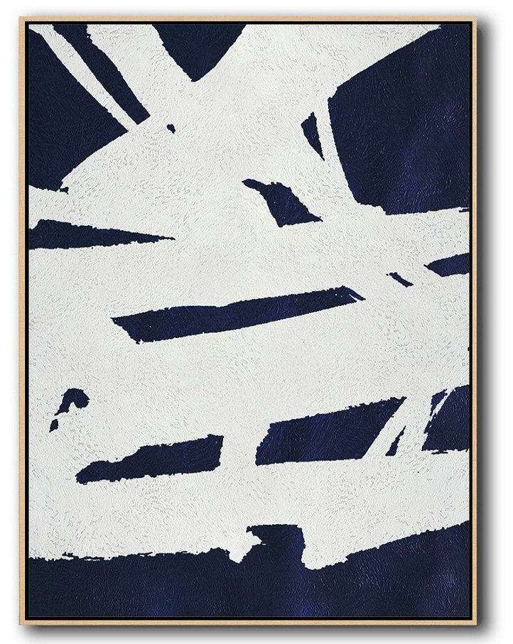 Buy Hand Painted Navy Blue Abstract Painting Online,Pop Art Canvas #F8T5