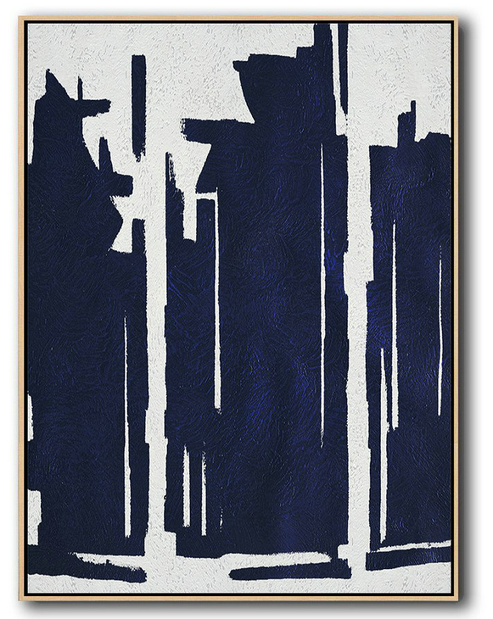 Buy Hand Painted Navy Blue Abstract Painting Online,Contemporary Art Wall Decor #T4S3