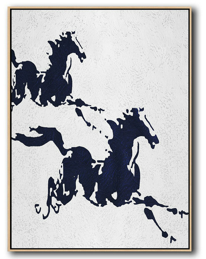 Buy Hand Painted Navy Blue Abstract Painting Online,Lounge Wall Decor #D5M8