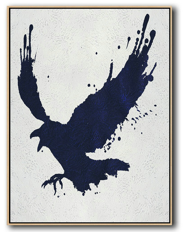 Buy Hand Painted Navy Blue Abstract Painting Online,Hand Painted Canvas Art #T6H4