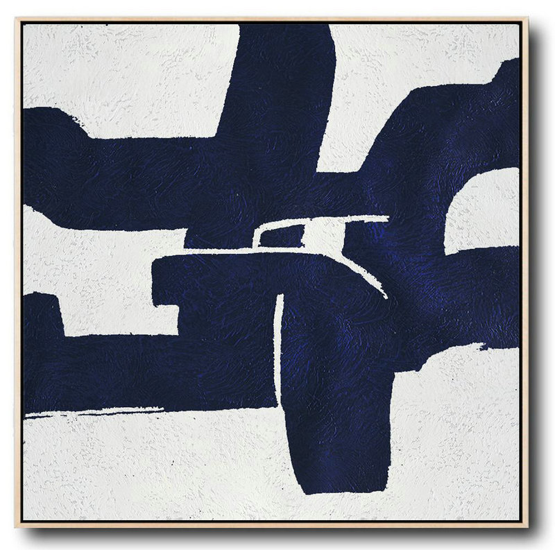 Hand Painted Navy Minimalist Painting On Canvas,Contemporary Art Acrylic Painting #H8Z5