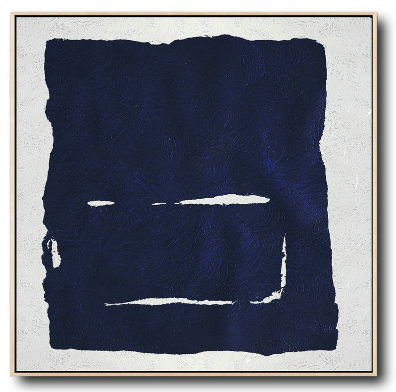 Hand Painted Navy Minimalist Painting On Canvas,Acrylic Painting On Canvas #H8Z5
