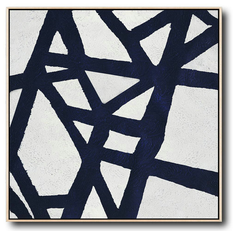 Hand Painted Navy Minimalist Painting On Canvas,Large Living Room Decor #P2K5