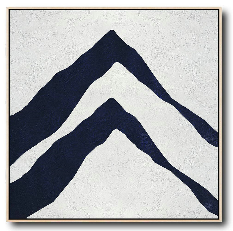 Hand Painted Navy Minimalist Painting On Canvas,Canvas Wall Paintings #O8S2