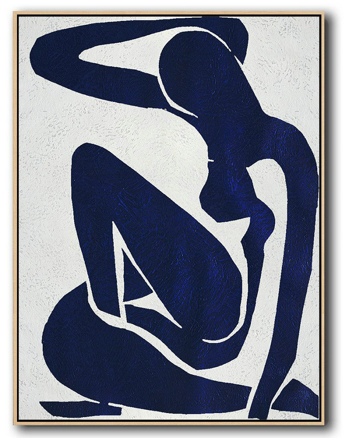 Buy Hand Painted Navy Blue Abstract Painting Nude Art Online,Oversized Wall Decor #W1O5