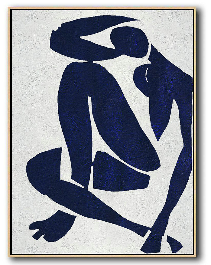 Buy Hand Painted Navy Blue Abstract Painting Nude Art Online,Home Decor Canvas #M6F0