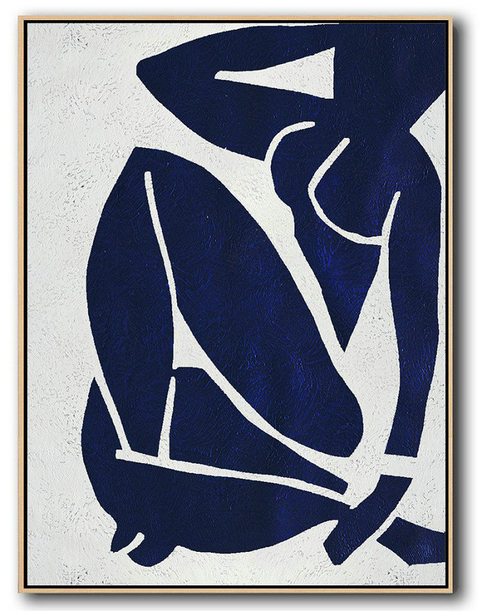 Buy Hand Painted Navy Blue Abstract Painting Nude Art Online,Big Living Room Decor #I3C4