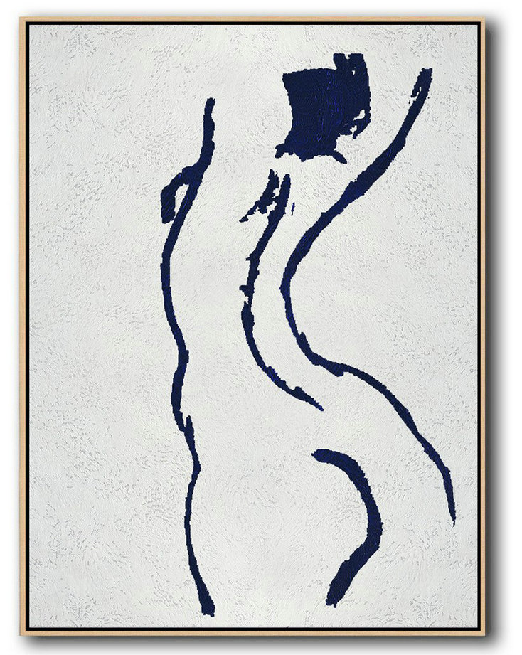 Buy Hand Painted Navy Blue Abstract Painting Nude Art Online,Home Canvas Wall Art #I3N4