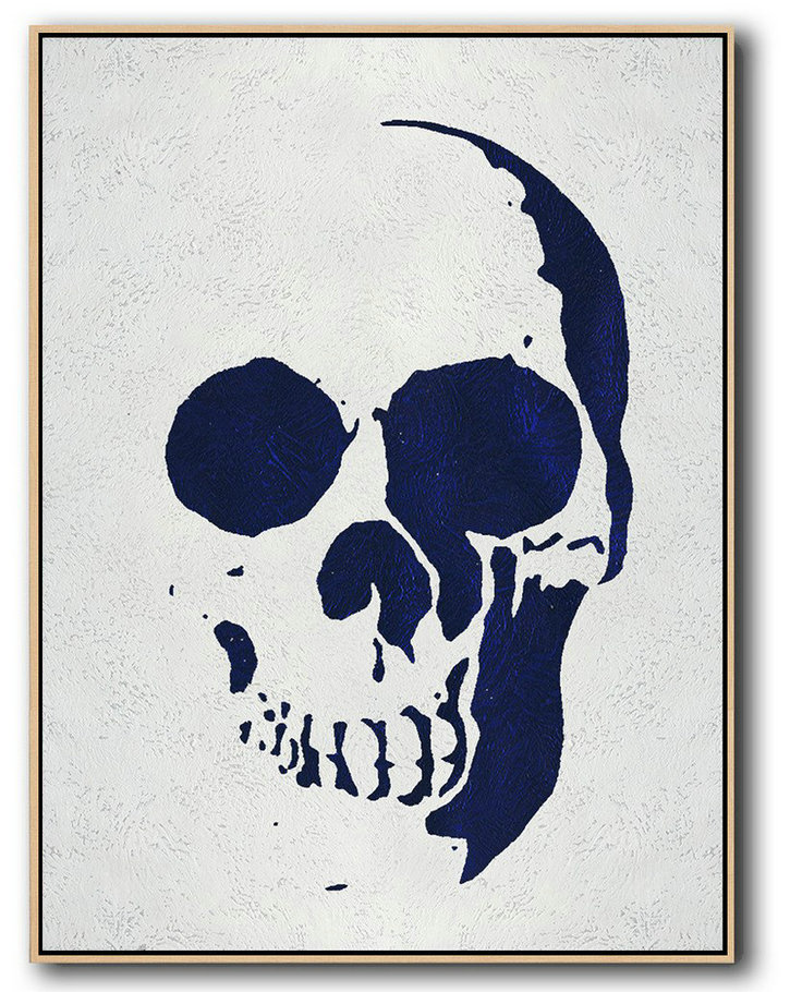 Buy Hand Painted Navy Blue Abstract Painting Skull Art Online,Decorating A Big Living Room #F3W7