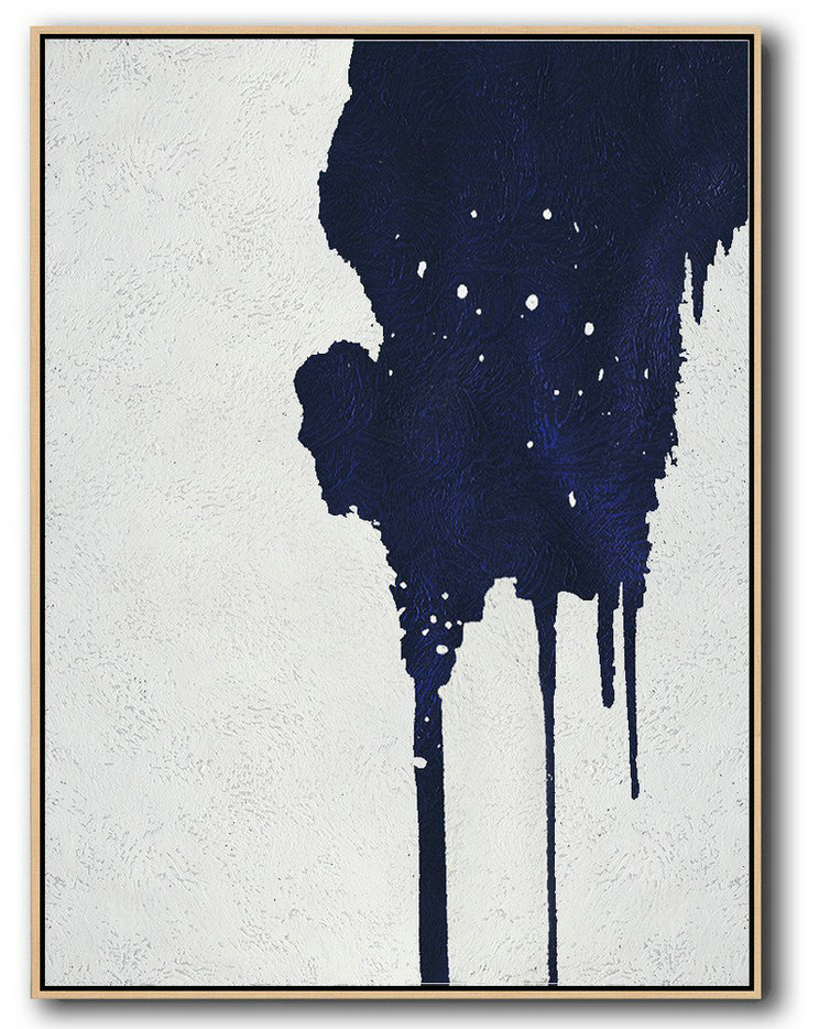 Buy Hand Painted Minimalist Painting Online,Horizontal Navy Painting Abstract Minimalist Art On Canvas #U8M6