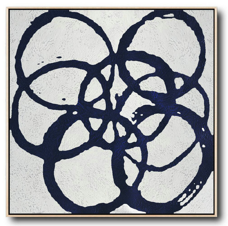 Minimalist Navy Blue And White Painting,Extra Large Wall Art #W0P2